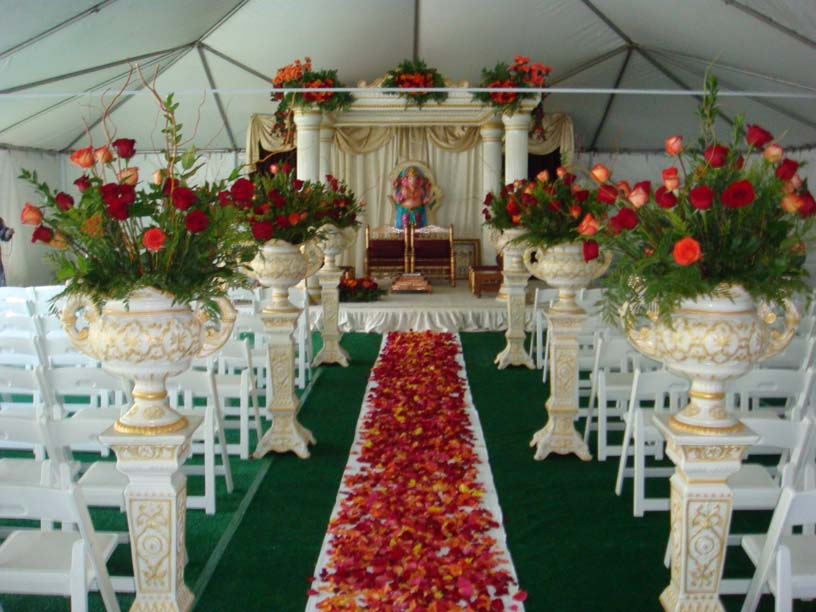 Indian Theme Artificial Flower Decoration In Ca Statues Decoration Ganpati Stage Decoration In